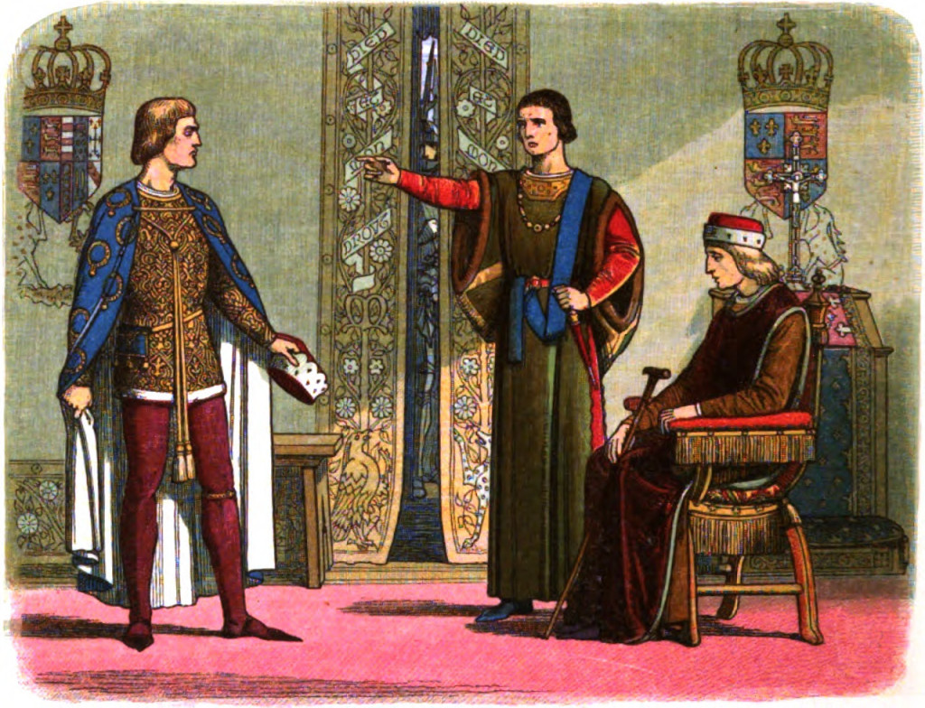 Henry VI sits while Richard Plantagenet, 3rd Duke of York, and Edmund Beaufort, 2nd Duke of Somerset, have an argument. 1864. Public Domain.