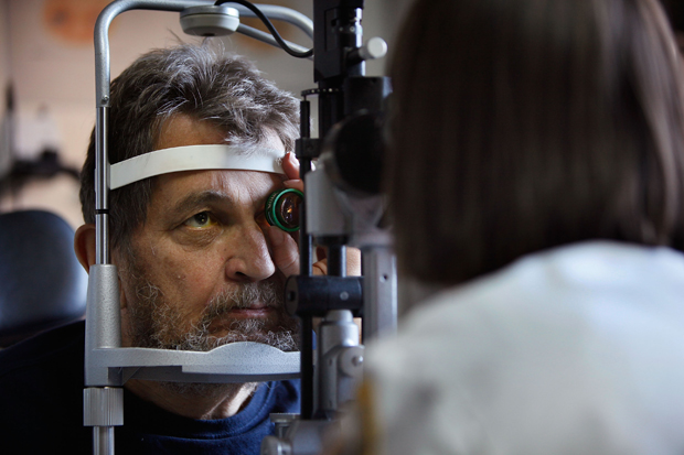 William Weiser has his eyes examined at the Central Blind Rehabilitation Center at the Edward Hines Jr. VA Hospital in Hines, Illinois.