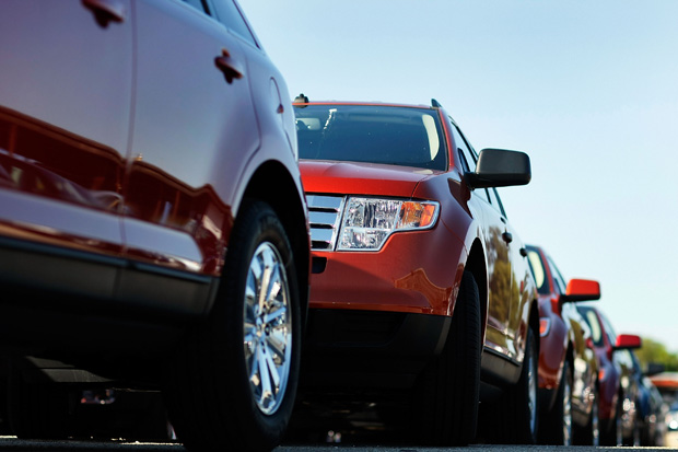 Ford vehicles are seen on the sales lot at the Metro Ford dealership  in Miami, Florida.