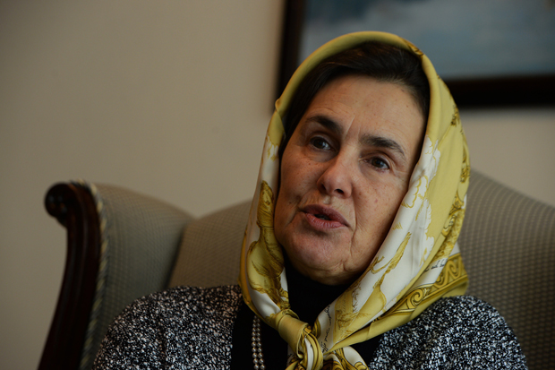 In this photograph taken on October 30, 2014, Afghan First Lady Rula Ghani, also known as Bibi Gul, speaks during an interview with AFP at the Presidential Palace in Kabul.