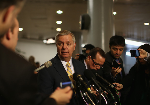 Sen. Lindsey Graham (R-SC) talks to the media March 10 about the GOP letter sent to Iran, outside the U.S. Capitol in Washington, D.C.