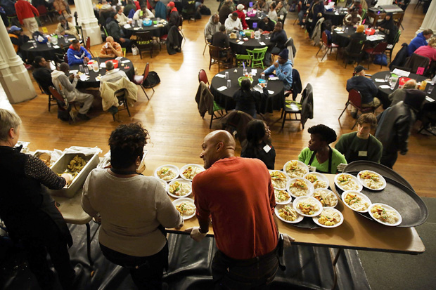 Food is served at Broad Street Ministry (BSM) during a lunch for the homeless and those in financial distress  in Philadelphia, Pennsylvania. Philadelphia has the highest rate of deep poverty in America.