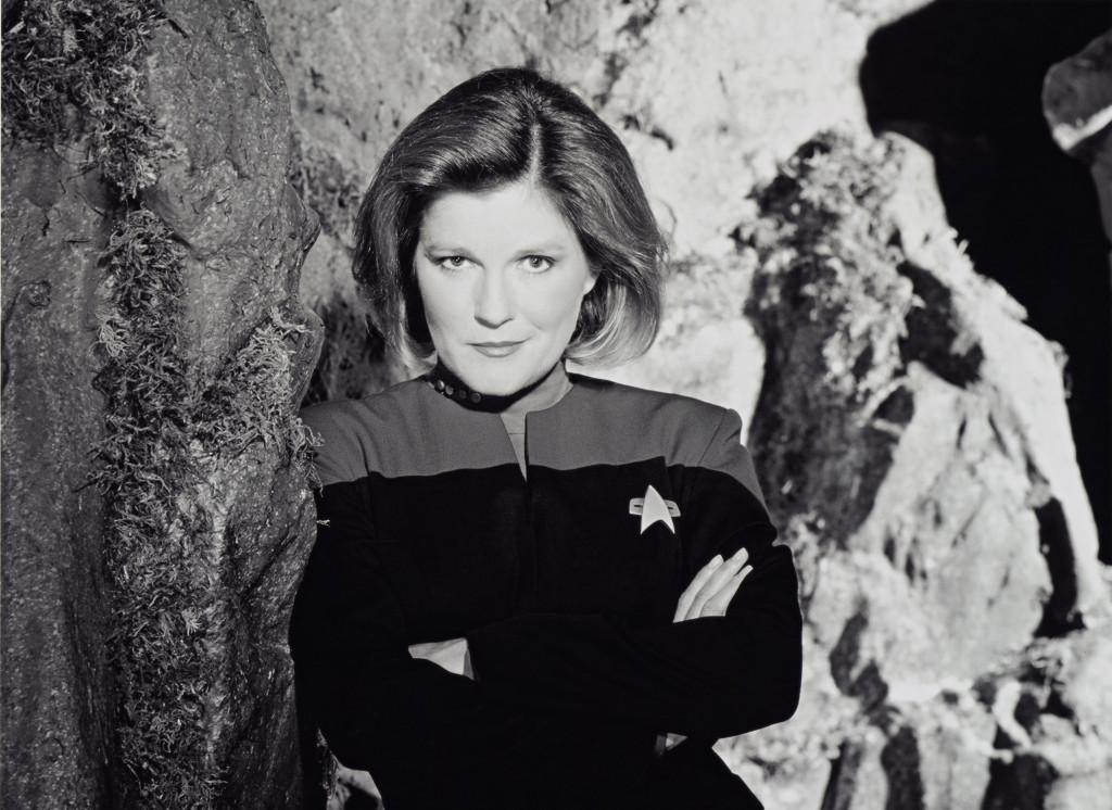 Kate Mulgrew as Captain Janeway on Star Trek.