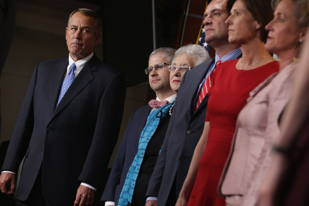 Speaker of the House John Boehner (R-OH), left, stands with the newly-elected members of the House GOP leadership team during a news conference Nov. 13 at the U.S. Capitol in Washington, DC.