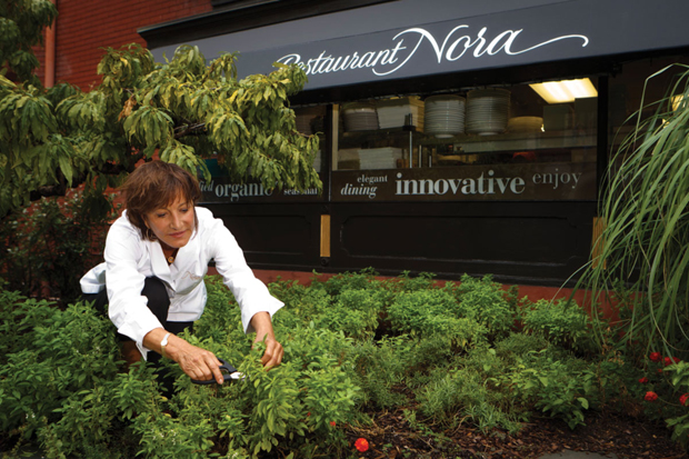 Chef Nora Pouillon outside Restaurant Nora, the first certified organic restaurant in the U.S.