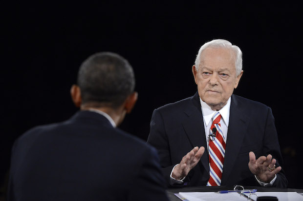 Moderator Bob Schieffer of CBS looks on during a 2012 presidential debate  at Lynn University in Boca Raton, Florida.