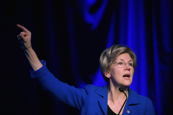 Elizabeth Warren (D-MA) delivers remarks during the Good Jobs Green Jobs National Conference at the Washington Hilton April 13, 2015 in Washington, DC.