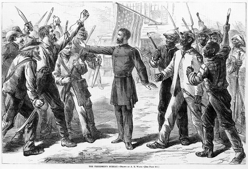 This 1868 drawing shows a man representing the Freedman's Bureau stands between armed groups of Euro-Americans and Afro-American. James McPherson explores the role of the Freedman Bureau  in his new book.
