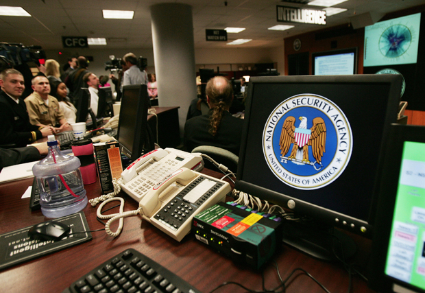 This file photo shows a computer workstation bearing the National Security Agency (NSA) logo inside the Threat Operations Center in Fort Meade, Maryland.