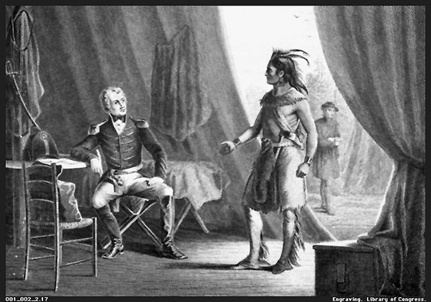Andrew Jackson and William Weatherford after the Battle of Horseshoe Bend, 1814.