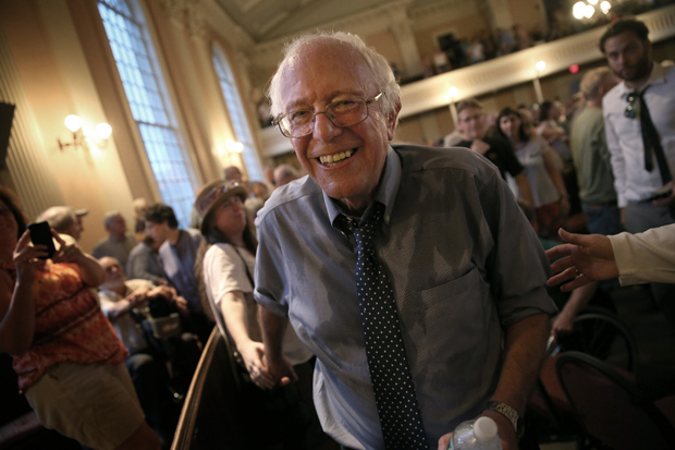 Democratic presidential candidate and U.S. Sen. Bernie Sanders (I-VT) finishes greeting supporters following a packed town meeting May 27 at the South Church in Portsmouth, New Hampshire.