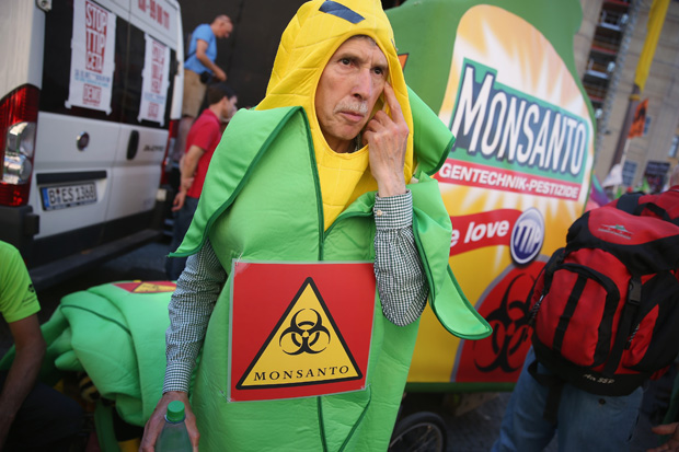 An activist dressed as an ear of corn June 4 protests against the U.S. agriculture company Monsanto ahead of the upcoming G7 summit in Munich, Germany.