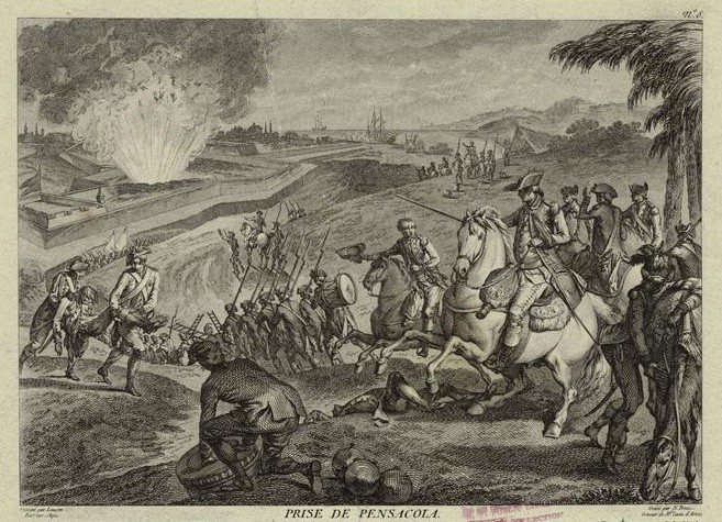 An engraving depicting the 1781 Battle of Pensacola.