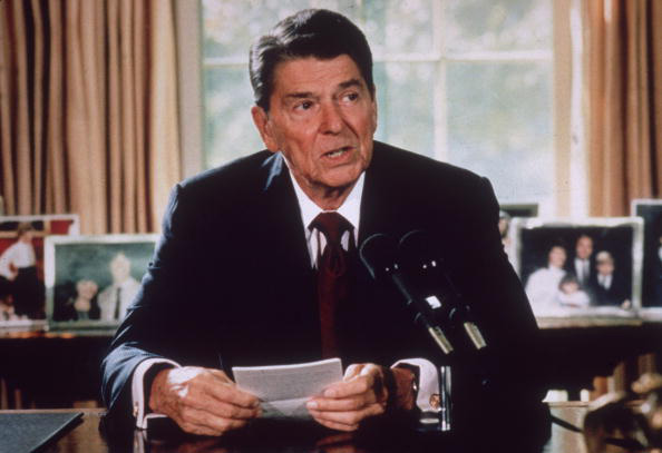 This 1985 photo shows American president Ronald Reagan making an announcement from his desk at the White House in Washington, D.C.