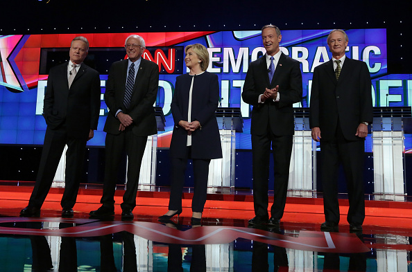 From left: Jim Webb, Bernie Sanders, Hillary Clinton, Martin O'Malley and Lincoln Chafee at Tuesday night's Democratic debate in Las Vegas.