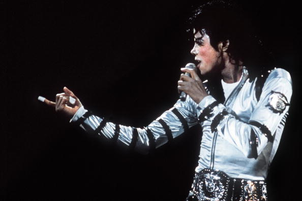 Michael Jackson performs during a concert at the historical Berlin Reichstag on June 19, 1988.