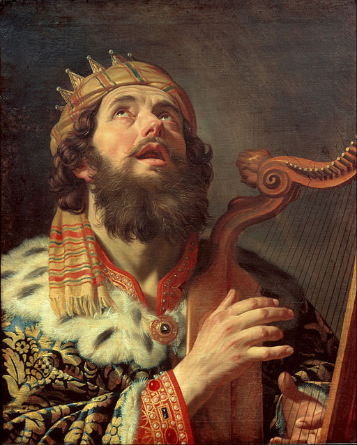 A portrait of David playing the harp.