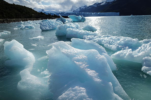 Melted glacial ice floats in front of the Perito Moreno glacier in Los Glaciares National Park, part of the Southern Patagonian Ice Field, the third-largest ice field in the world, on Nov. 27 in Santa Cruz Province, Argentina.