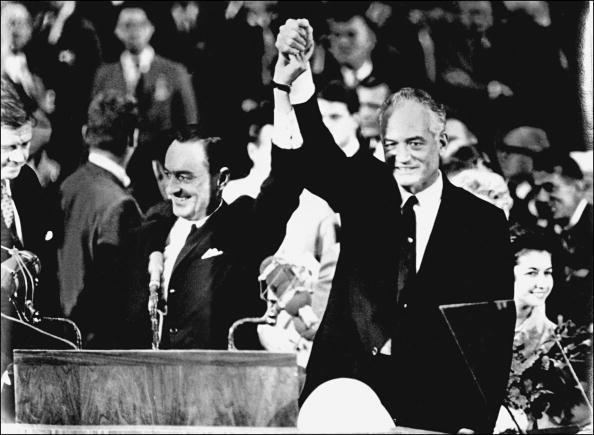 Presidential hopeful Barry Goldwater, right, and his running mate William Miller accept the Republican Party nomination in San Francisco in July 1964.