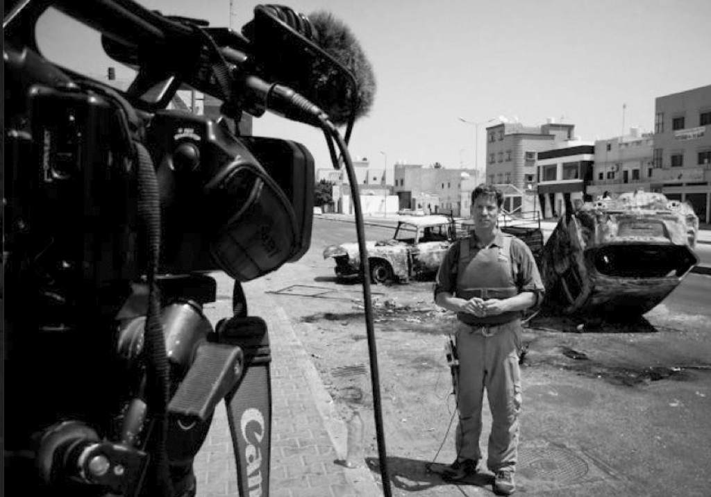 """""""As anti-government rebels, backed by NATO air strikes, moved across Libya, the front lines shifted by the day, sometimes great distances. Reporters moved with them, moving on or retreating as the battles ebbed and flowed. Here we stopped for a live report."""" –Richard Engel (Libya, August 2011)"""