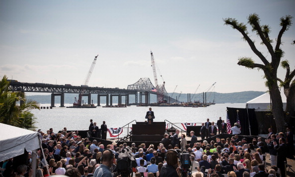 U.S. President Barack Obama delivers remarks on infrastructure in the United States with the Tappan Zee Bridge and construction for a new bridge as a backdrop at the Washington Irving Boat Club on May 14, 2014 in Tarrytown, New York.