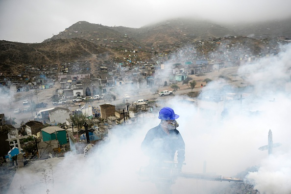 A specialist fumigates the Nueva Esperanza graveyard in the outskirts of Lima, Peru, on Jan. 15. Health officials fumigated the largest cemetery in Peru and second-largest in the world to prevent Chikunguya and Zika virus, which affect several South American countries.