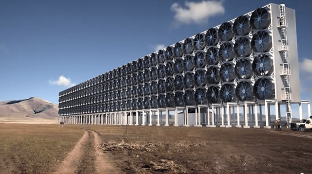 "The Canadian company Carbon Engineering has a design for using giant fans to collect air and ""scrub"" it of carbon dioxide."