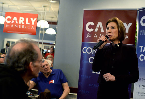 Republican presidential candidate Carly Fiorina holds an event at Blake's Restaurant in Manchester, New Hampshire, on Feb. 8, the day before the state's presidential primary election. On Feb. 10, Fiorina suspended her campaign.