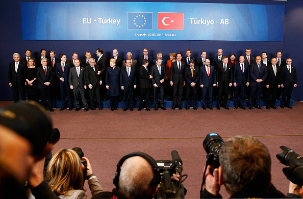 A general view of the group photo taken during The European Council Meeting In Brussels held on March 7.  EU leaders are meeting with Turkish Prime Minister Ahmet Davutoglu in Brussels, to discuss the worst refugee crisis since the Second World War, as thousands of migrants remain stranded in Greece after borders along the Balkan route to Germany are closed.