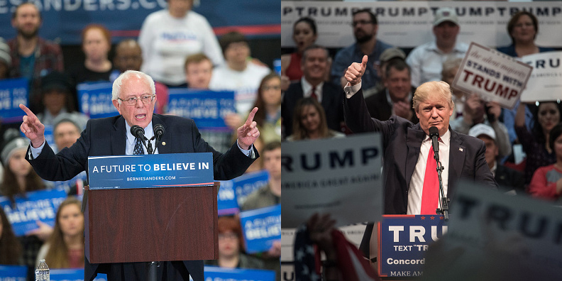 Presidential candidates Sen. Bernie Sanders (L) and Donald Trump have each made comments about U.S. trade policy during their campaigns.