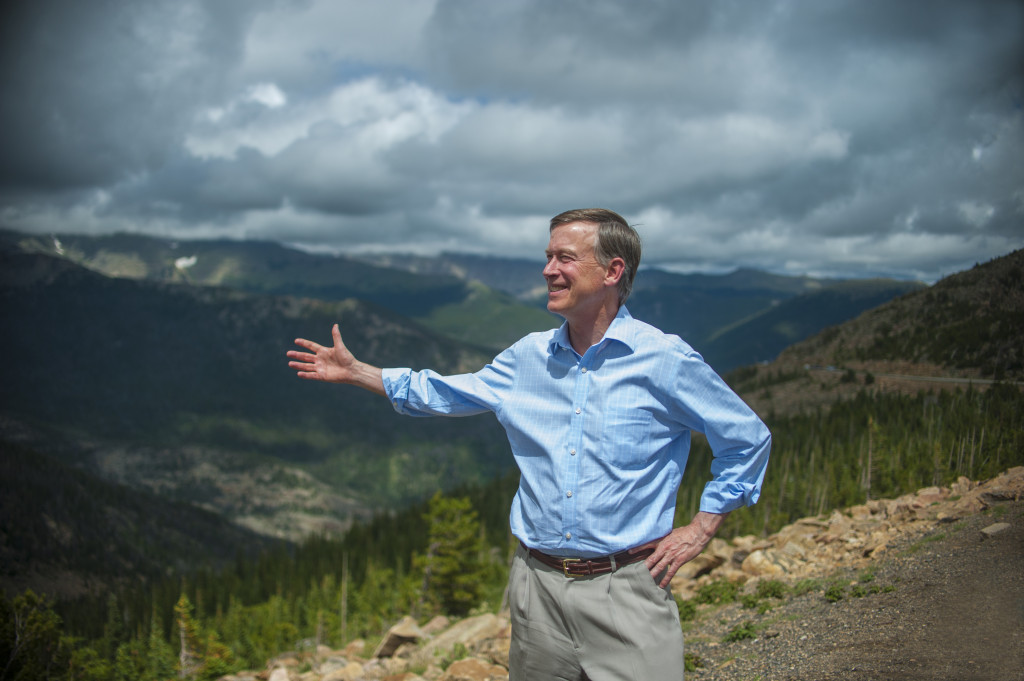 Governor John Hickenlooper in Colorado's Rocky Mountain National Park on its 100th birthday.