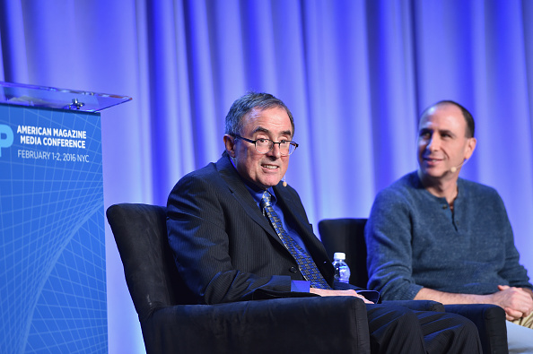 Journalist Michael Kinsley (L) speaks onstage with Jonathan Chait at the American Magazine Media Conference on February 2 in New York City.