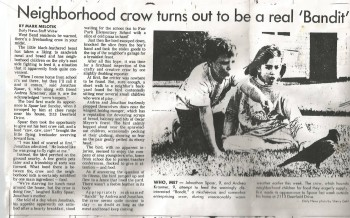Our listener Andrea's experience with a crow as a child made her local paper.