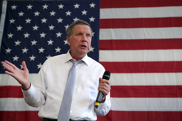 Republican presidential candidate and Ohio Governor John Kasich speaks during a campaign event April 25 in Rockville, Maryland.