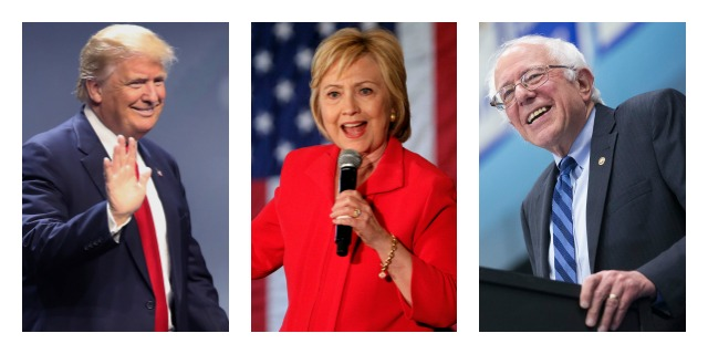 From left: Donald Trump (R), Former Secretary of State Hillary Clinton (D) and Vermont Sen. Bernie Sanders (I)  are the three remaining candidates in the 2016 presidential race.