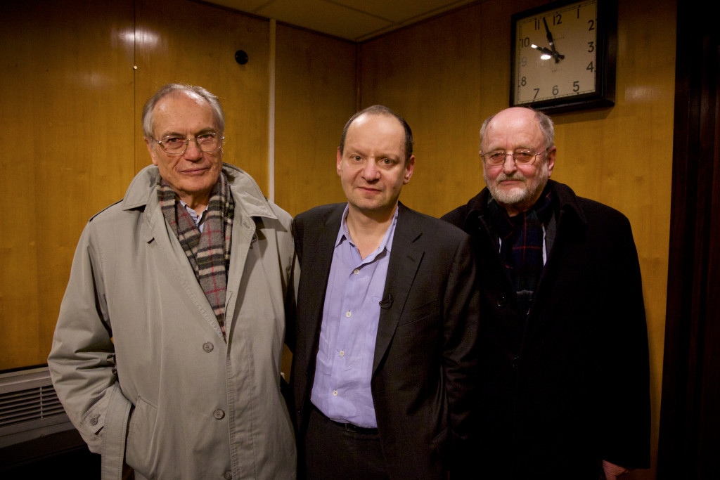 "Human rights lawyer Philippe Sands, center, whose relatives died in the Holocaust, discovered his family was connected to Horst Von Wachter, left, and Niklas Frank, both the sons of high-ranking Nazi officials.  The three men traveled together through Europe for the PBS documentary ""My Nazi Legacy."""