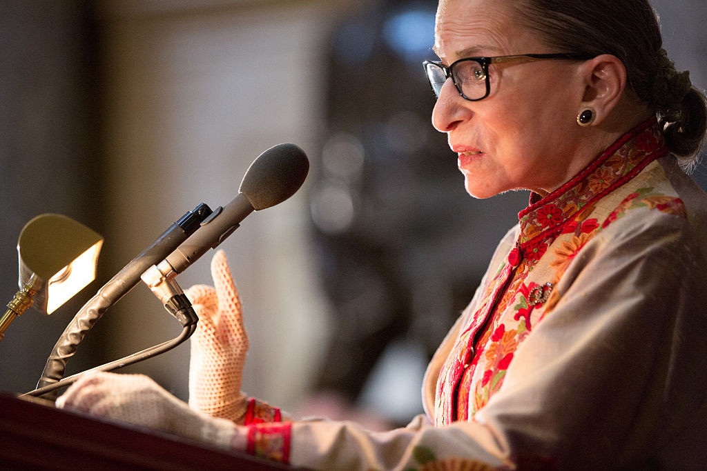 U.S. Supreme Court Justice Ruth Bader Ginsburg speaks March 18 at an annual Women's History Month reception in Washington, D.C.
