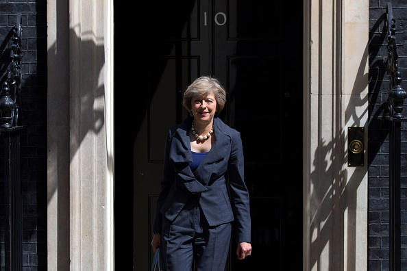 Prime Minister-in-waiting Theresa May leaves after attending a Cabinet meeting at Downing Street on July 12 in London, England.