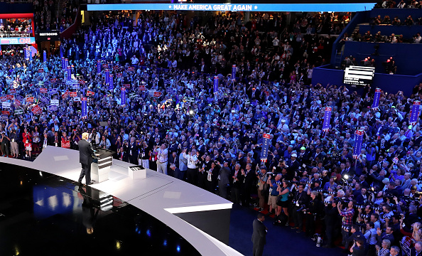On July 18, the first day of the Republican National Convention in Cleveland, Ohio, presumptive Republican nominee Donald Trump speaks to the crowd.