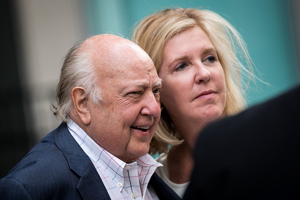 Fox News chairman Roger Ailes walks with his wife Elizabeth Tilson as they leave the News Corp building July 19 in New York City. Amidst allegations of workplace sexual harassment, Ailes left his position two days later.