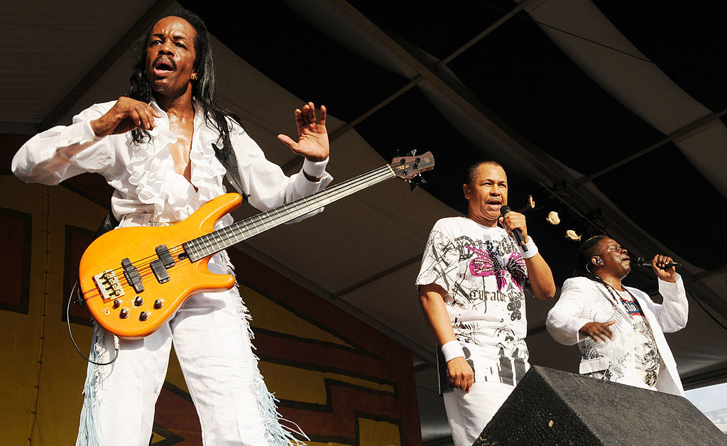 From left, musicians Verdine White,  Ralph Johnson and  Philip Bailey of Earth Wind & Fire perform at the 2009 New Orleans Jazz  Festival.