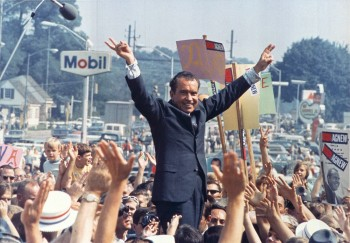Richard Nixon at a 1968 Philadephia campaign rally.