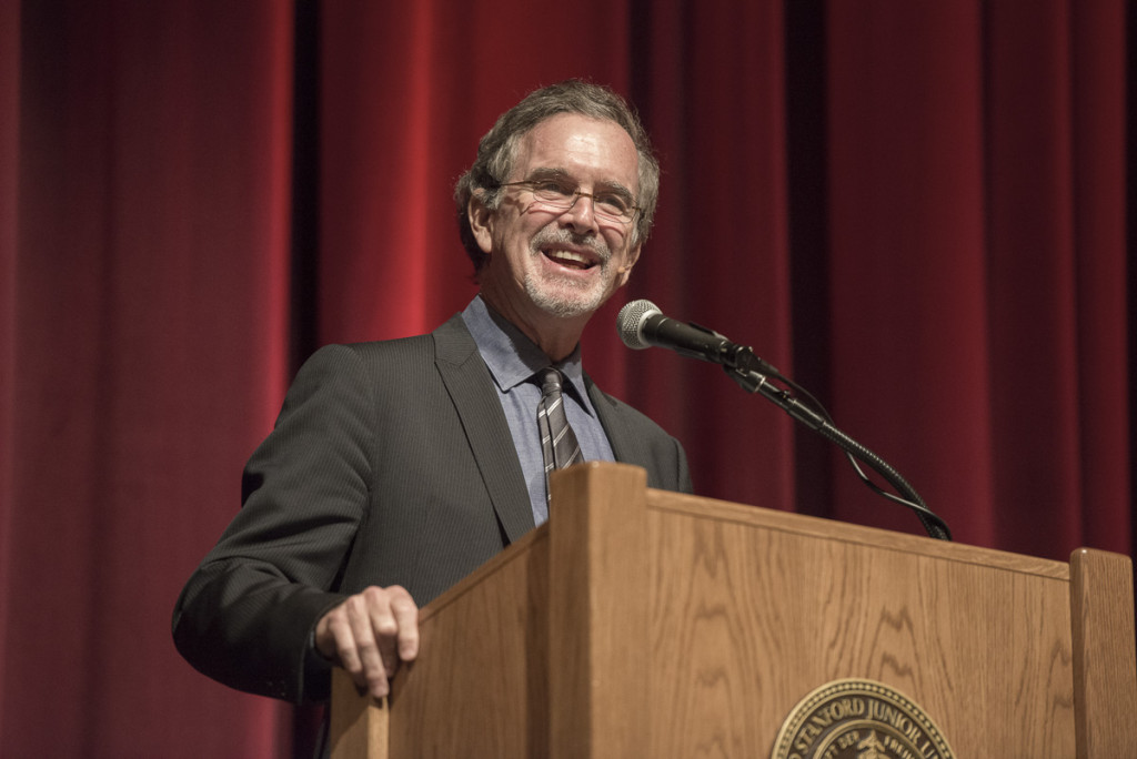 Cartoonist Garry Trudeau speaks at Stanford University in 2014.