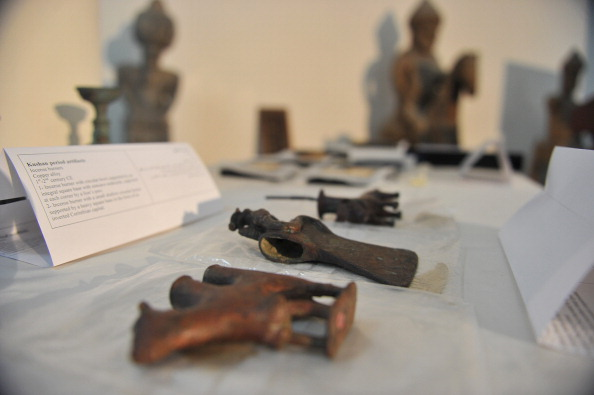 Antiquities—once looted from Afghanistan, now returned—are displayed in the Kabul Museum in Kabul on August 5, 2012.