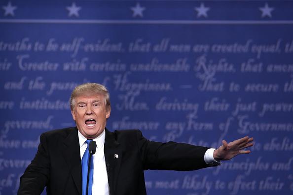 Republican presidential nominee Donald Trump speaks during the Presidential Debate at Hofstra University on September 26 in Hempstead, New York.