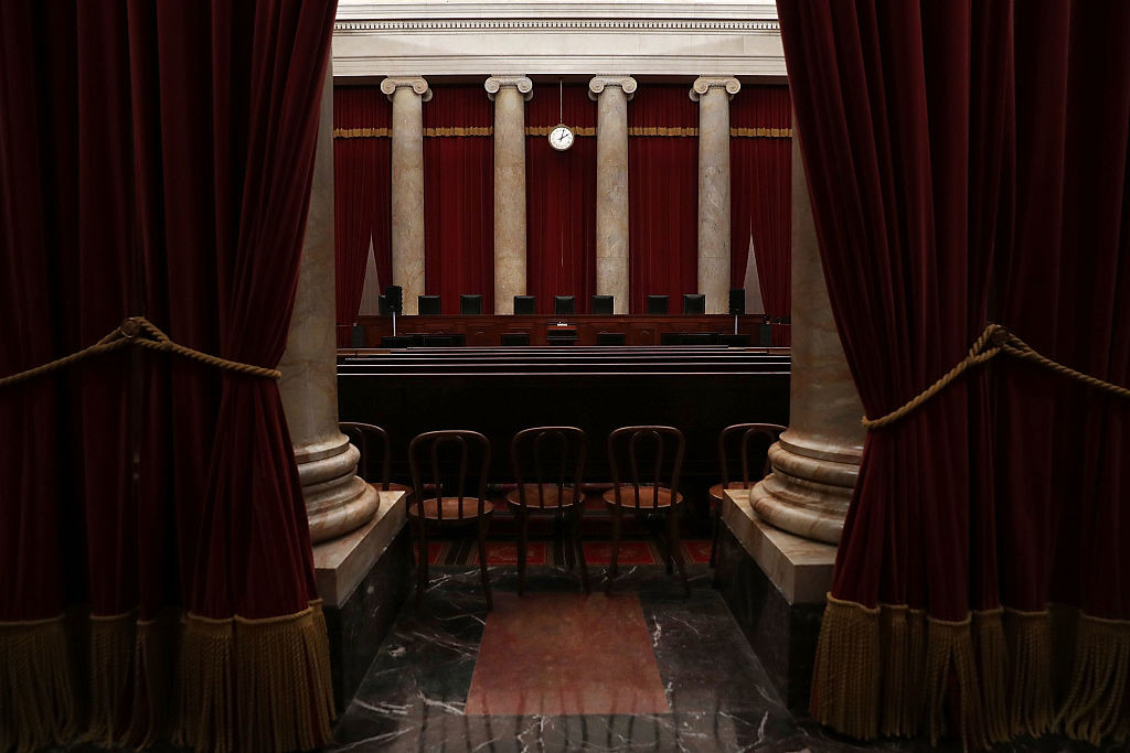 The courtroom of the U.S. Supreme Court  is seen September 30, 2016 in Washington, DC.