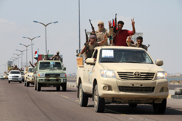 Yemeni fighters from the separatist Southern Movement, loyal to the government forces, arrive for a rally marking the anniversary of the south's revolt against British colonial rule Oct. 13 in the southern city of Aden.