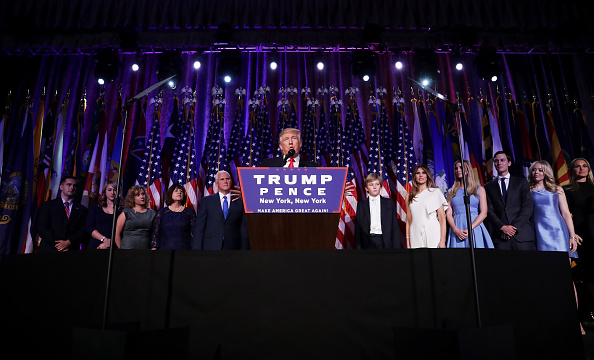 Republican president-elect Donald Trump delivers his acceptance speech during his election night event in the early morning hours of Nov. 9 at the New York Hilton Midtown in New York City.