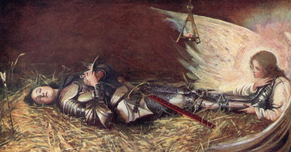 Circa 1429, St Joan of Arc (1412 - 1431), known as the Maid of Orleans, watched over by an angel while she sleeps. Her inner voices moved her to ask the Dauphin to let her fight the English in 1428.