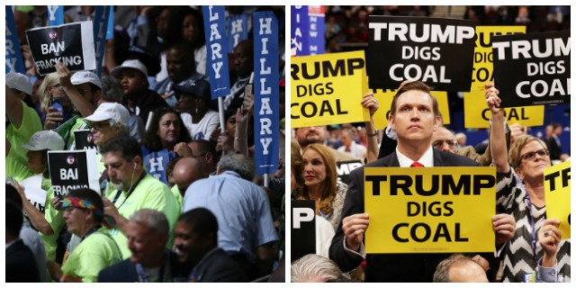 Left Side Photo: Attendees at the Democratic National Convention at the Wells Fargo Center, July 28, 2016. Right Side Photo: Delegates at the second day of the Republican National Convention on July 19, 2016 in Cleveland, Ohio.